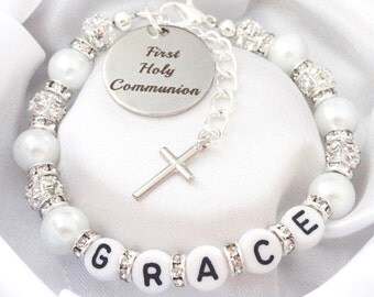 All Rhinestone NAME First Holy Communion Bracelet boxed * OTHER COLOURS * blessing,confirmed,religious,blessed,church