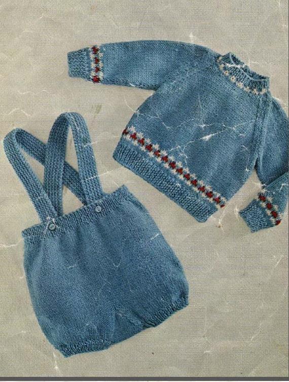 Vintage Baby Knitting Pattern Romper Set Includes Jumper