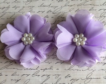 "Set of two 2.5"" Lavender Chiffon and Pearl Flower, Fabric Flower, Headband Flowers, Wholesale Flowers, Boutique Supplies, DIY headband"