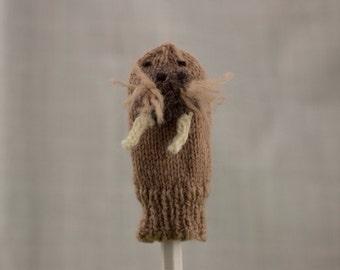 Walrus Finger Puppet   Handknit   Wool