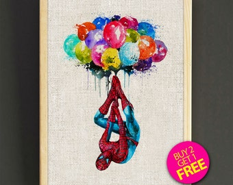 Spider-Man art poster - Marvel Superhero Balloon - FREE SHIPPING [214s2g]