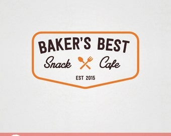 Custom Premade Food Logo Design - Baker's Best Snack Cafe with spoon and fork bakery logo F002