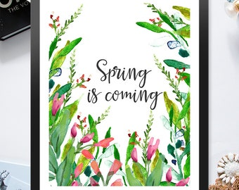 Spring Is Coming Red Pink Lavender Pastel Flowers Grass 8x10 inch Poster Print - P1050