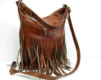 Bucket bag. Crossbody leather bag. Leather fringe bag. Handmade. Handbag. Brown.