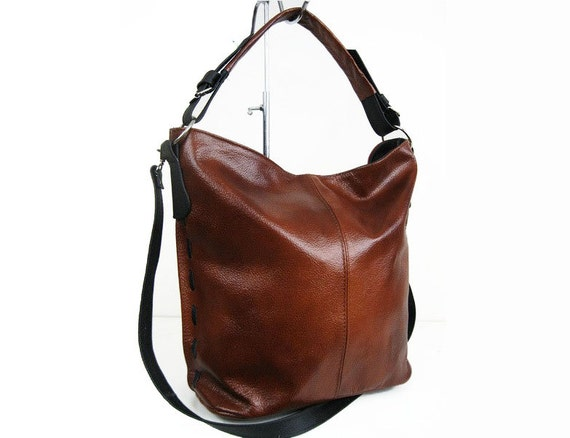 Cognac Brown LEATHER HOBO BAG Everyday Leather Shoulder Bag