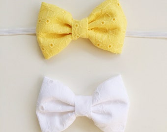 Eyelet Bow in White OR Yellow