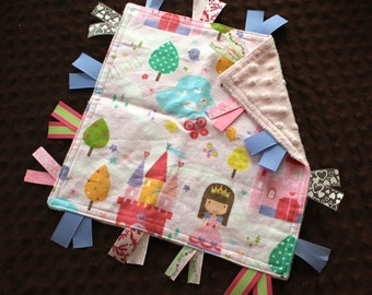 Custom Personalized Tag Minky Sensory Ribbon Blanket Lovey- Princesses Castles and Minky Dot