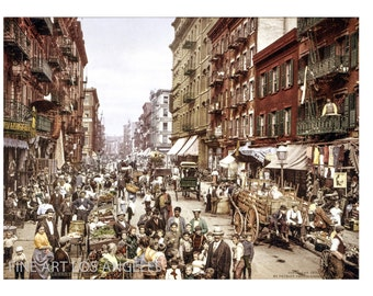 "Photo of Mulberry Street, New York City, 1900, Detroit Photo Co. 11x17"""