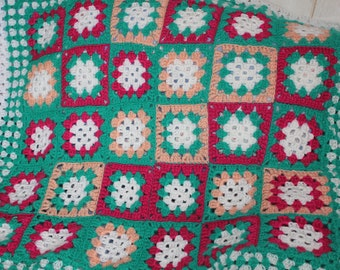 small blanket or throw crocheted granny square