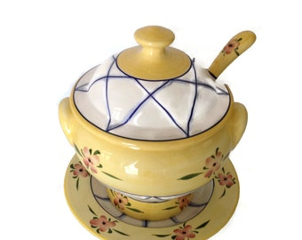 Ceramic Soup Tureen with Plate and Ladle Andrea by Sadek Made in Portugal