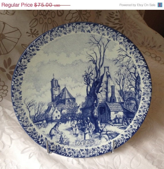 ON SALE Delfts Blue/Blauw Chenkefa De Winter Plate Made in Holland Hand Painted 1960's