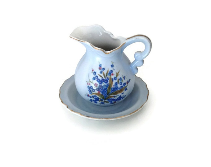 Lefton China Miniature, Blue Pitcher and Bowl, Ceramic Miniature Pitcher and Basin Set, Made in Japan, Bathroom Decor, Ladies Vanity Decor