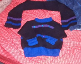Duo black scarf sweater purple striped blue stars for girl 2-3 x