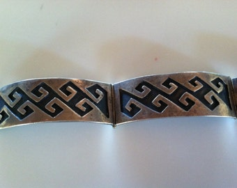"Vintage MEXICOTAXCO STERLING SILVER Panel Bracelet 7 & 3/4"" 31GM"