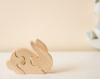 Wooden Rabbit Puzzle Ornament