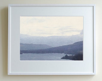 Scottish highlands, mounted print, oil painting print, landscape painting, loch view, highland painting, loch print