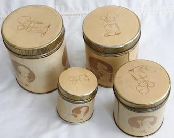 Lovely 4 pieces stackable cream brown vintage round kitchen storage tins 1950s
