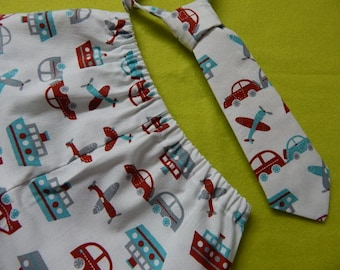 retro look airplane, boat, car diaper cover and tie, boy shorts boxer and tie, boxer and tie, boy cake smash