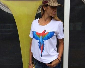 White T-shirt Print Parrot, Plus Size Clothing, Oversize Screenprint Tshirts, Cotton Maxi Top By SSDfashion