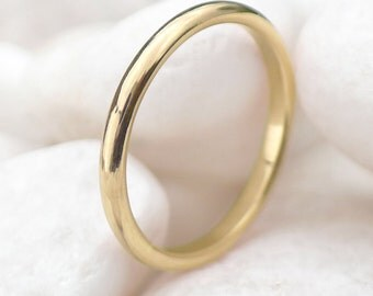 2mm Ethical Gold Wedding Ring - Recycled 18k Yellow Gold - Handmade to Size