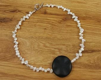 Black Stone and Natural Biwa Pearls