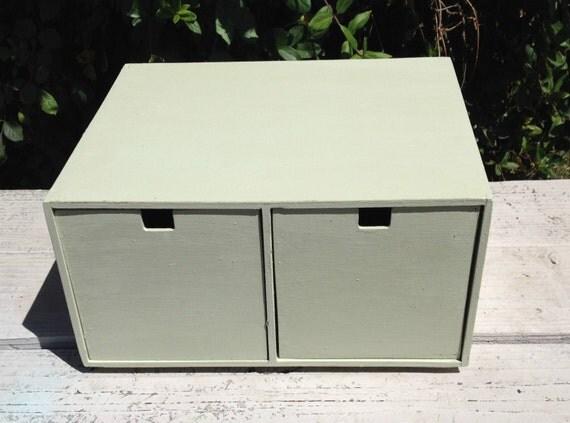 sage green two drawer counter top bureau storage by shebasshack. Black Bedroom Furniture Sets. Home Design Ideas