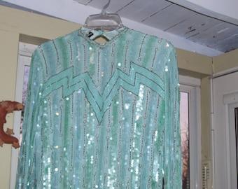 Aqua beaded/sequines calf length dressy dress