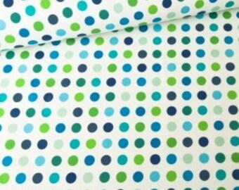 Cotton Fabric Robot Dots - Mint, Green, Blue -  Yard, Fat Quarter