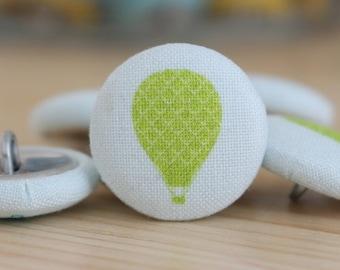 Fabric Covered Buttons - Green Balloon - 6 Medium Fabric Buttons