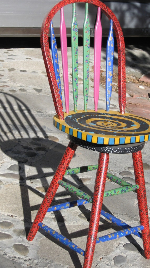 Fun Chair Painted In Different Patterns By
