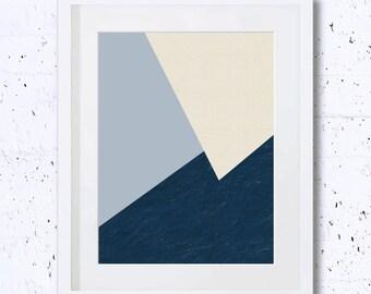 Three Colors Geometry, Blue, Beige, Abstract, Home Decor, Art Print, Printable Art, Minimalist, Wall Print, Abstract, Minimal Art,Simple Art