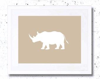 Rhinoceros, Rhino, White Rhinoceros Silhouette, Art Print, Nursery Animal Print, Printable Art, Downloadable, Wall Decor, Gold, Beige