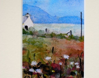 "Mounted Print from my miniature watercolour painting."" Across the Machair."""