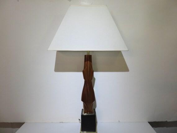 Sculptural Laurel Vintage, Mid-Century Modern Lamp And Shade