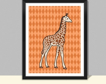Giraffe in a patterned background nursery decor and kids art print