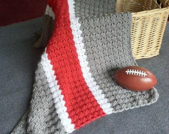 Ohio State Crochet Blanket - OSU Baby Blanket - Hand Made Scarlet and Grey Throw - Buckeye Afghan