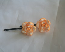 orange & white flower bobby pins-flower bobby pins-bobby pins