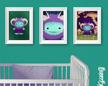 Cute Fuzzy Monster Three Digital Print Set - Large Sizes - Baby Boys Nursery Kids Playroom Bathroom Decor - Color Choices Available