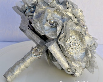 Vintage style fabric flower and crystal brooch bouquet, silver and organza