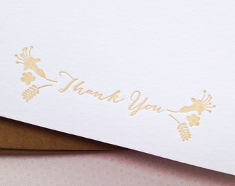 Boxed Letterpress Thank You Card Set: Rustic Floral note cards
