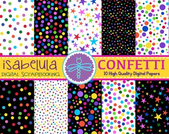 """Confetti Digital Paper / Printable Backgrounds in Bright Colors - 12"""" x 12"""" High Quality JPGs - Instant Download"""