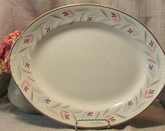 Homer Laughlin, Eggshell, Nautilus Series, Nantucket Pattern, Large, Oval Chop Plate or Platter, 13.5''