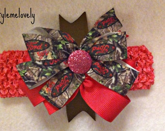 Hot Pink and Camo Ford Baby girl Boutique Bow Crocheted Headband