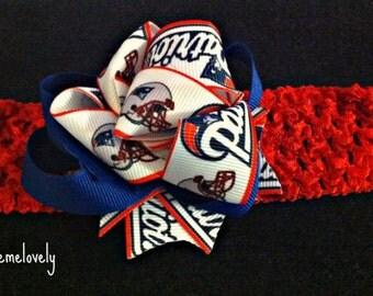 New England Patriots Baby Girl Boutique Bow Crocheted Headband