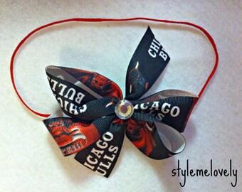 Chicago Bulls Baby Girl Boutique Bow Elastic Headband