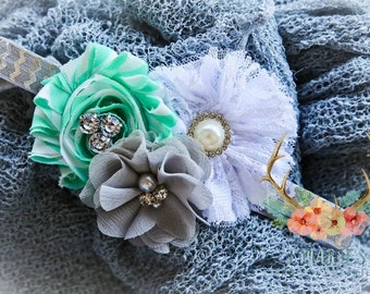 Mint, gray, and white shabby chic headband