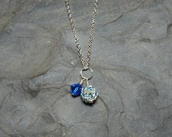 Capri Blue Swarovski Crystal Bicone and Aquamarine Crystal Chain Necklace