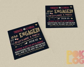 Engagement invitation printable, Engaged, typography, modern,  DIY Printable Digital