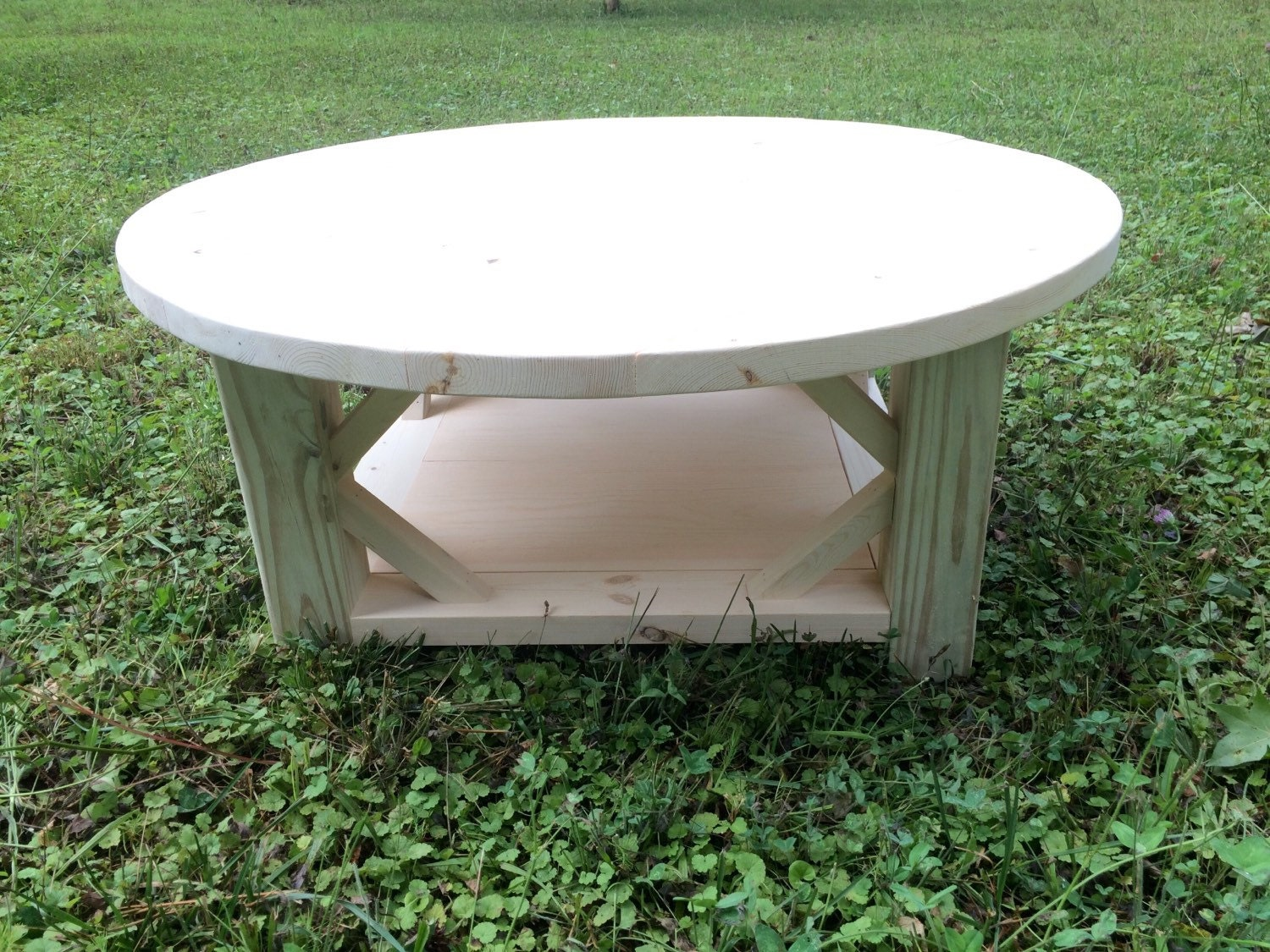 Rustic Round Coffee Table Unfinished By Lillardwithlove On Etsy
