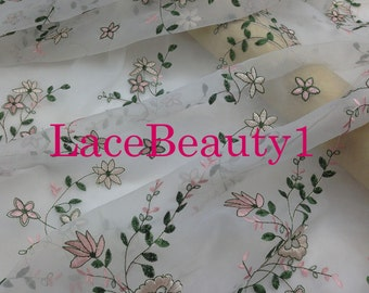Pink/green embroidery organza lace,soft Lace, wedding lace, bridal lace,apparel lace, dress lace, vintage lace